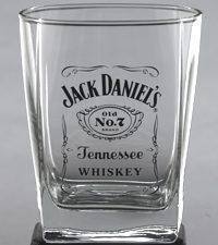 Jack Daniel Label Logo DOF Glass