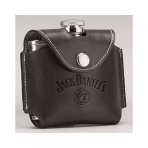 Black Leather Cover JD Flask