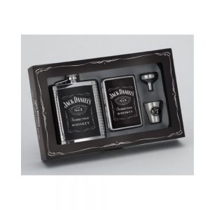 Jack Daniel's Gift Set w/Ribbed Leather Flask