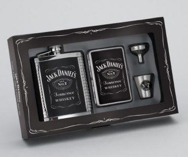 Jack Daniel's Gift Set w/Ribbed Leather Flask