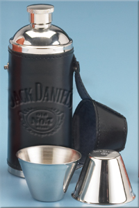 Black Leather Travel Flask