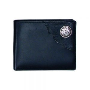 Black Billfold with Metal Logo