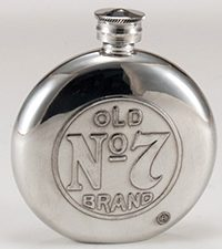 Circular Jack Daniel's Pewter Flask